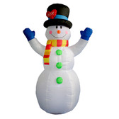 Snowman with Blue Gloves - 8ft Tall Inflatable
