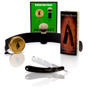 Star Customs Buffalo Horn Straight Razor and Shaving Set