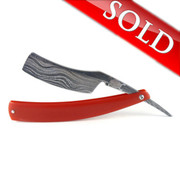 """Alex Jacques Custom 7/8"""" Damascus Razor With Red G10 Scales"""