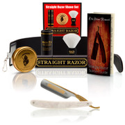"""Dovo Faux Pearl """"Bismarck"""", 6/8"""" Carbon Steel Straight Razor with Luxury Set - Professionally Honed"""