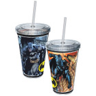 DC Comics Batman In Action Poses 16oz Plastic Cup w/ straw