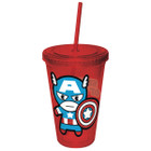Marvel Kawaii Sentinel of Liberty Captain America 16oz Plastic Cup w/ Straw