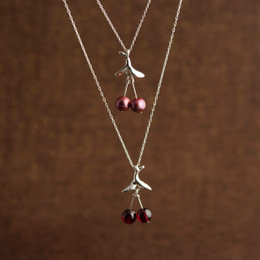 "Freshwater Pearl or Garnet ""Cherry"" Necklace"