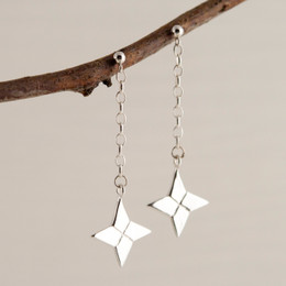 Origami Shuriken (Ninja Star) Drop Earrings