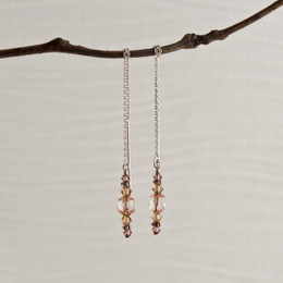 CLEARANCE! Rose Glass with Swarovski Accent Thread Earrings--50% OFF