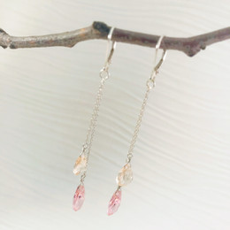 CLEARANCE! Pink and Champagne CZ Double Drop Earrings--50% OFF