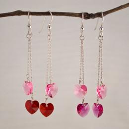 CLEARANCE! Swarovski Hearts Double Drop Earrings--50% OFF