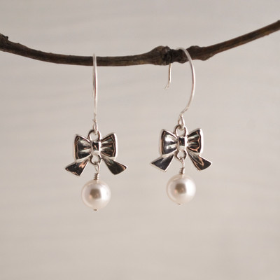 White Pearls with Rounded Hook Earwire