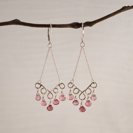 CLEARANCE! Pink Tourmaline Chandelier Earrings--50% OFF