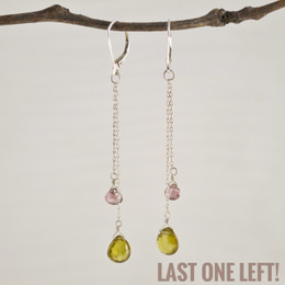 CLEARANCE! Rose CZ and Vesonite Double Drop Earrings--50% OFF