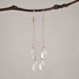CLEARANCE! Crystal Quartz Flat Pear Double Drop Earrings--50% OFF