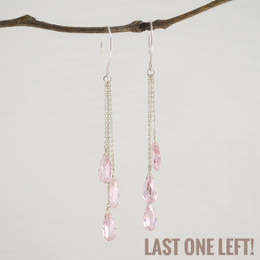 CLEARANCE! Light Pink CZ Triple Drop Earrings--50% OFF