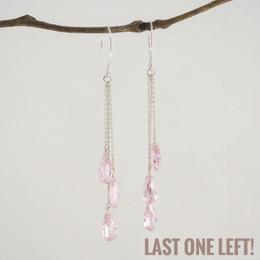 CLEARANCE! Light Pink CZ Triple Drop Earrings--50% OFF