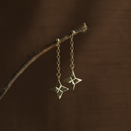 Gold Vermeil Origami Shuriken Ninja Star Earrings