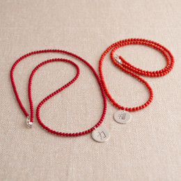 Coral Beaded  Kanji Droplet Necklace