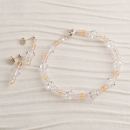 Swarovski Crystal, Amethyst, and Citrine Bracelet and Earring Set