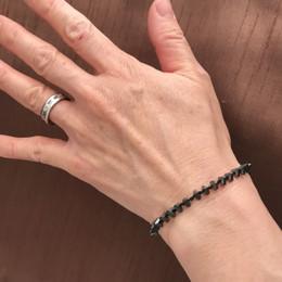 Single Strand (your choice of stone shape) Titanium Coated Hematite Bracelet