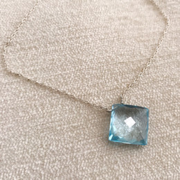Limited Item:  Cushion Cut Blue Topaz Necklace