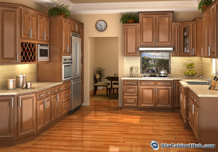 Chestnut Glaze Assembled Kitchen Cabinets