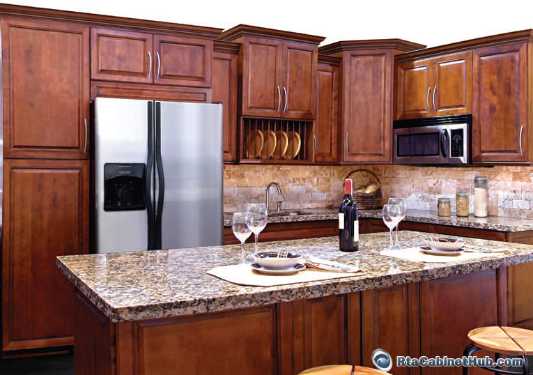 Cherry Cabinet Kitchen Designs and Cherry Cabinets With Bronze Hardw