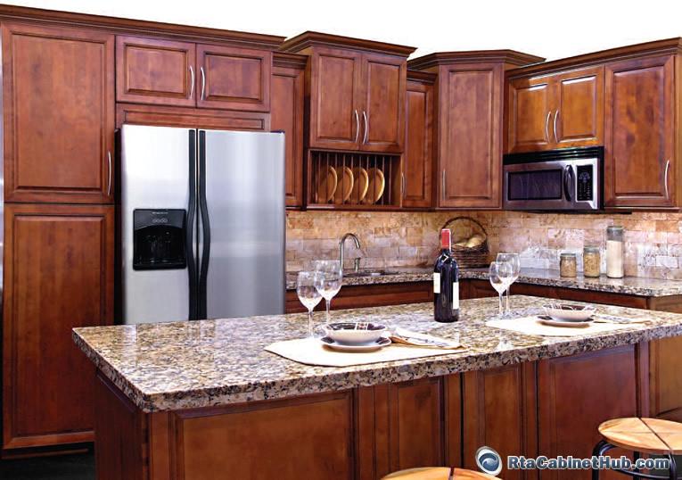 Bronze cherry rta cabinets for Cinnamon cherry kitchen cabinets