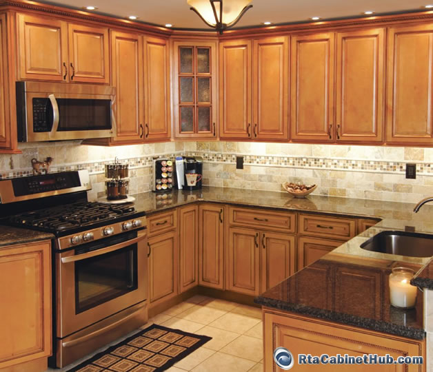 All wood cabinets sandstone rope