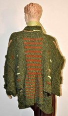 Tweed Cape in green from the back