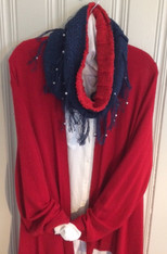 Navy with Red Lining. White beads NOT included