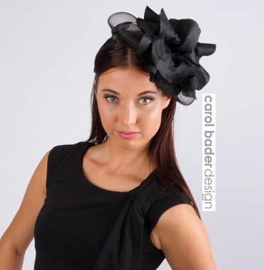 Black. Mounted on headband.