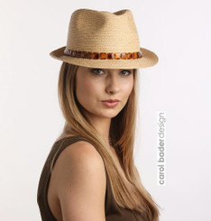 Raffia Fedora with tortoiseshell band. Adjustable sizer band inside.