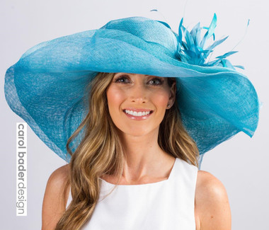 "Aqua/Turquoise ""stacked"" brim shown here."
