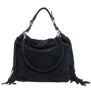 Black Fringe Faux Suede Bag