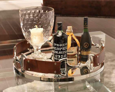 Leather and Silver Bits on a mirrored tray. Perfect for a wet bar or serving your guests in style.
