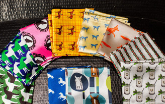 Medley of pocket square designs shown here.