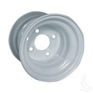 "Steel, White, 8x7 w/ offsett Standard 8"" Golf Cart Wheel"