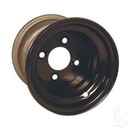 "Steel, Black, 8x7 w/ offset Standard 8"" Golf Cart Wheel"