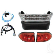 Super Saver Bright LED Complete Light Bar Bumper Kit, Club Car Precedent Electric 04-08.5 with 12V Batteries