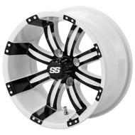 LSC Casino SS White/Black 14X7 3:4 Offset for Club Car, EZ-GO and Yamaha Golf Carts