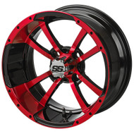 LSC Maltese Cross SS Red/Black 14X7 3:4 Offset for Club Car, EZ-GO and Yamaha Golf Carts