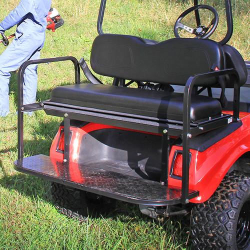 RHOX Super Saver Steel Rear Flip Seat Club Car DS Black