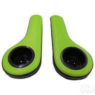 Universal Padded Arm Rest Cup Holder Set Black/Green