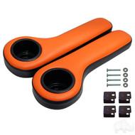 Universal Padded Arm Rest Cup Holder Set Black/Orange