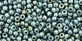 Toho Seed Beads 11/0 Round Galvanized Green Silver 8 gram tube
