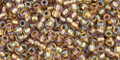 Toho Seed Beads 11/0 Round #398 Rainbow Crystal Gold Lined 50 gm