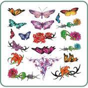Silk Line Body Art Temporary Tattoos Small Butterflies