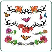 Silk Line Body Art Temporary Tattoos Roses and Flowers