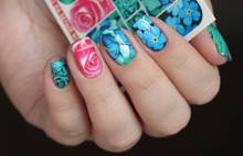 enVogue Simply Decals Teal Flowers/Butterfly N415
