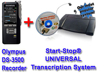 Olympus DS-3500 + Start-Stop® UNIVERSAL Transcription System Bundle