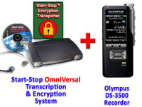 Olympus DS-3500 + Start-Stop® OmniVersal Audio/Video/DVD Transcription Equipment System + Start-Stop Encryption Transporter Bundle