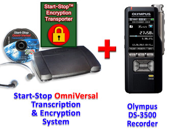 Olympus DS-3500 + Start-Stop® OmniVersal Audio/Video/DVD Transcription Equipment System + Start-Stop Encryption Transporter Bundle